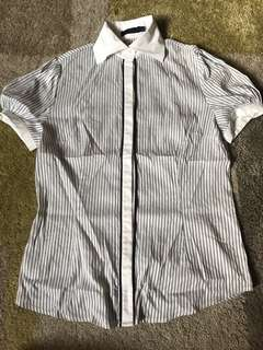 G2000 white and Grey office blouse