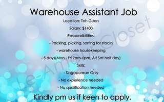 Warehouse Assistant Positions Jobs available