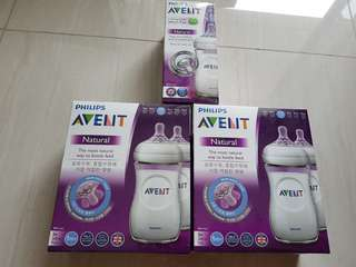 5 Avent natural 260 ml bottles