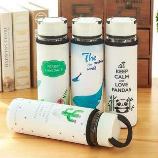 阿宗雜貨 創意隔熱PU皮套玻璃水杯 耐熱玻璃瓶 泡茶杯 辦公外出必備水壺