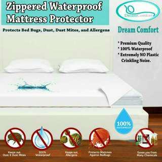 Waterproof Zippered Mattress Protector,  Hypoallergenic,  Noiseless,  Queen Size