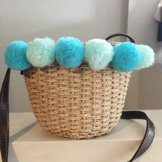 Woven Bag With Pompoms