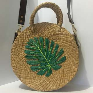 Round Bag with Leaf Detail
