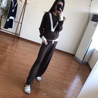 2018年早秋Celine休閒撞色羊毛針織套裝 棕色