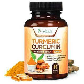 [IN-STOCK] Turmeric Curcumin Max Potency 95% Curcuminoids 1950mg with Bioperine Black Pepper for Best Absorption, Anti-Inflammatory Joint Relief, Turmeric Supplement Pills by Natures Nutrition - 60 Capsules