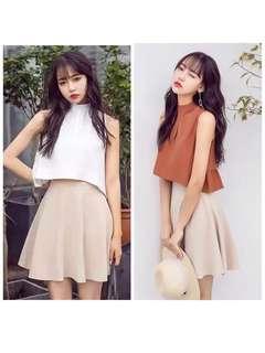🚚 (可單買)韓版清新氣質兩件式套裝短版無袖上衣襯衫短裙A字裙