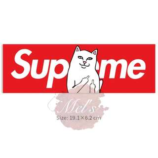 Supreme X RIPNDIP Lord Nermal Luggage Sticker • Middle Finder Cat