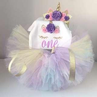 Unicorn dress for 1 year birthday