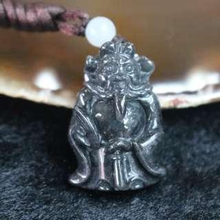 Type A Burmese Black Jade Jadeite Zhong Kui - 13.05g L22.2 W32.2 D11.9mm