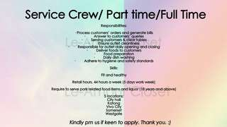 Service Crew Needed Part Time Full Time Positions Jobs Available
