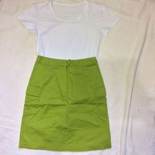 A-line Green Vintage Skirt with Side Pockets
