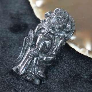 Type A Burmese Black Jade Jadeite Zhong Kui - 27.05g L49.4 W25.6 D12.3mm