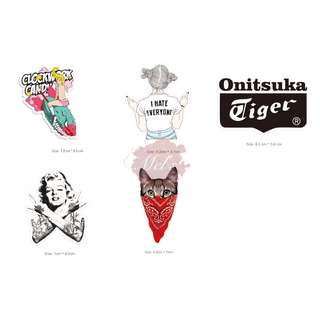 Luggage Stickers • Clockwork Candy Beauty I Hate Everyone Middle Finger Onitsuka Tiger Marilyn Monroe Swag Cashew Scarf Hip Hop Cat