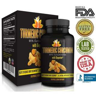 [IN-STOCK] Me First Living Premium Turmeric Curcumin 1000mg of 95% Curcuminoid With Black Pepper as Bioperine 10mg, 19x More Potent Than Others, Increased Bioavailability, Vegan, 60 Capsules