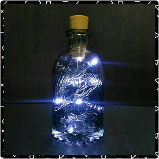 [No Wires] Miniature Grey Glass Bottle with Pure White Fairy Lights