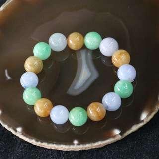 Type A Burmese Jade Jadeite Mixed Colours Beads Bracelet - 59.68g 12.9mm/bead 16 Beads