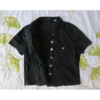 🚚 黑色牛仔短版上衣 襯衫