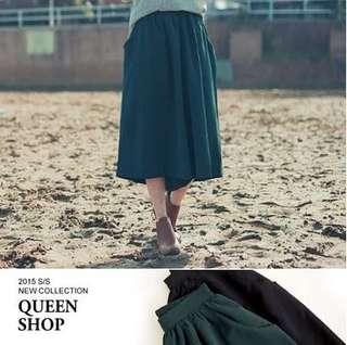 🚚 Queen shop 墨綠厚雪紡寬褲裙