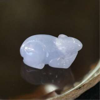 Type A Burmese Lavender Jade Jadeite Rat - 4.23g L23.6 W9.1 D13.0mm
