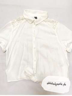 H&M White Lace Cropped Polo Top