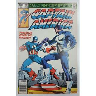 Captain America #241 (1980, 1st Series)- CAP Vs The PUNISHER! Frank Miller Cover Art! Classic 1ST Confrontation Between Punisher & Captain America!! Rare Book!!