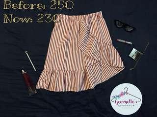 Red&White stripe ruffled skirt