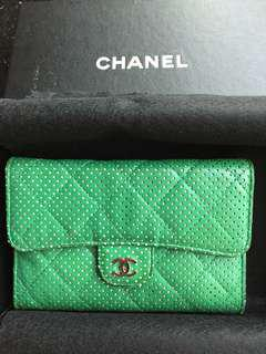 Chanel - 2006 年絶版 #Green Quilted Perforated Lambskin Wallet