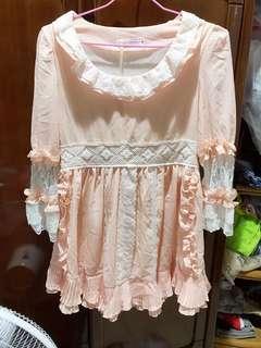 粉橘雪紡蕾絲9分袖洋裝