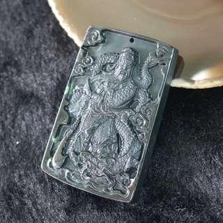Type A Burmese Black Jade Jadeite Guan Gong - 41.75g L65.8 W43.5 D8.0m