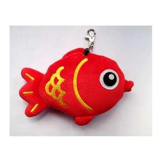 可愛立體紅色小魚伸縮悠遊包 (全新)