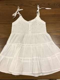Summer dress putih embroidery di bagian dada