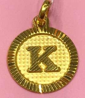 """K"" - Gold 916 Locket ❤️❤️❤️"
