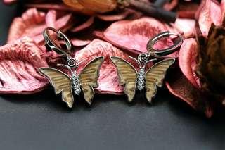 Navia Jewelry - Real Butterfly Wing Silver Earrings Korea