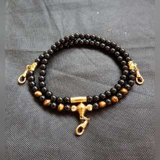 Sold - Good Quality & Nice Black Onyx, Tiger Eye Beads 3 Hook Necklace