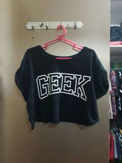 Black Geek Cropped Top