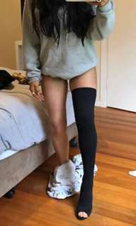 thigh high open toe boots
