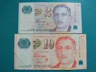 🚚 Spore $2 & $10 (Same Last 5 Digits 46666)