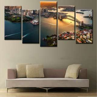 (Framed) 5 Pieces Sydney Panoramic Canvas Set