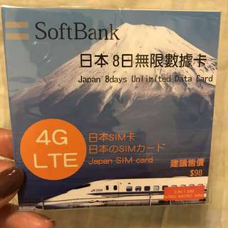 日本8日無限上網4G數據卡