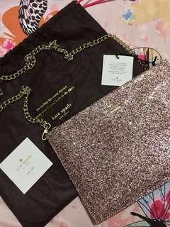 KATE SPADE Pink Glitter Clutch Bag
