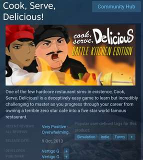 [Clearance Sale] Steam Cook, Serve, Delicious Game
