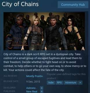 [Clearance Sale] Steam City of Chains Game