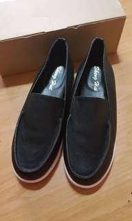 🚚 二手| MIT 韓版簡約素面百搭厚底鞋休閒鞋包鞋 黑色39號(24.5)