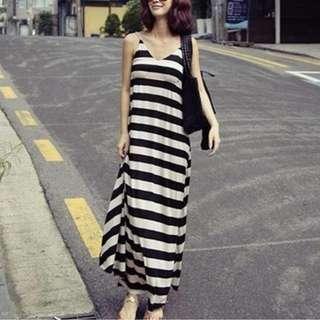 P12989 韓版波希米亞風條紋連衣裙