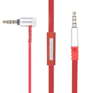 776.  AUX Replacement Headphone/Headset Audio Cable with Microphone for Beats Headset, Apple, Android (Red 1.1 Meters)