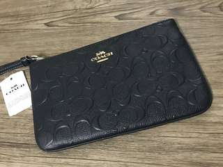 Coach Midnight Signature Embossed Large Wristlet