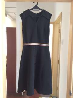 Vintage sleeveless collar midi tennis dress