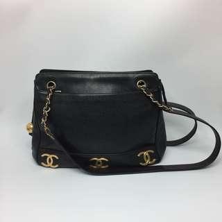 Vintage Chanel Caviar Skin 黑色魚子醬 Shoulder Bag Black