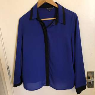 M&S bright blue and black detailing front button shirt