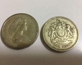 1 pound Coins Year 1983 & 1984